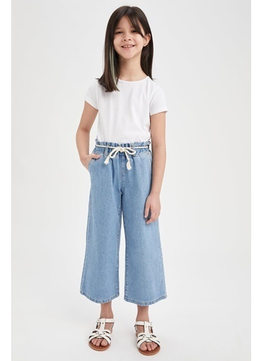 DeFacto Kız Çocuk Hasır İpli Culotte Pantolon Mavi